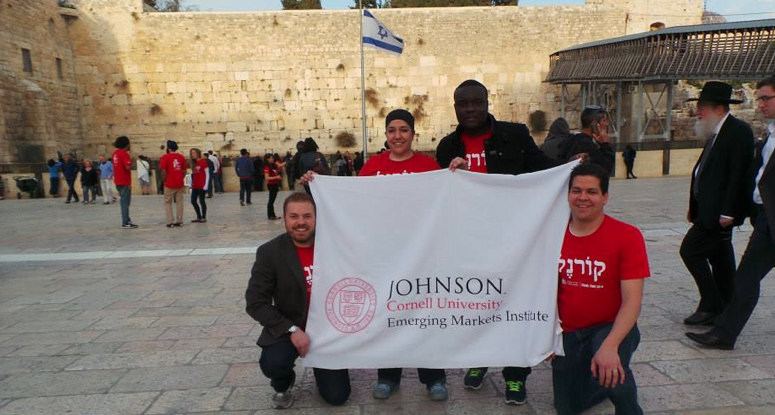 EMI Fellows (from left to right): Gregory Miller, Andrea Amaya, Tariboma Teme, and Francisco Jose Robles Cedeno at Western Wall, Jerusalem