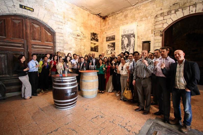 Students at Carmel Winery, Rishon LeZion