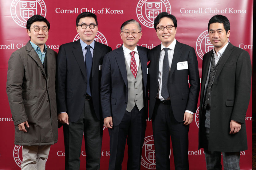 Johnson Club of Korea members (left to right) DongChul Kim, MBA '12, club vice president, alumni programs; Bonwook Koo, MBA '08; Kyung-Bae Suh, MBA '87; Chulyong Cho, MBA '98, club president; and Sung Won Mann, MBA '08, club vice president of communication