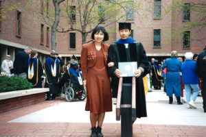 Picture of Zhu Shen and her husband, Changyou Chen, at his PhD graduation in biochemistry, at the University of Colorado Health Sciences Center, School of Medicine, Denver, 1995
