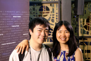 "Perry Chen and his mother, Zhu Shen, at the 2018 National YoungArts Week Cinematic Arts Program in Miami following the premiere of ""Changyou's Journey"""