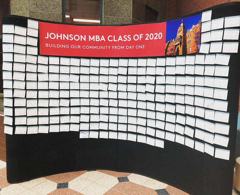 Board of index cards under a banner: Johnson MBA Class of 2020 building our community from day one