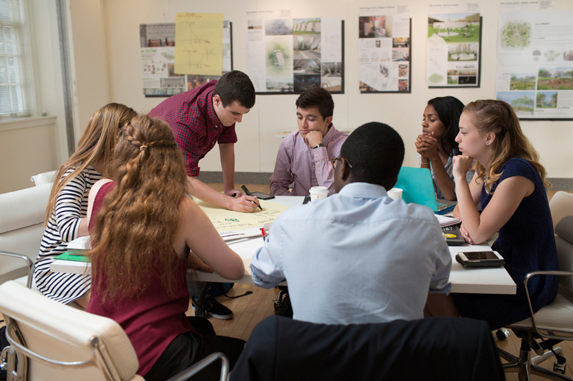 : Johnson students work together on a group project