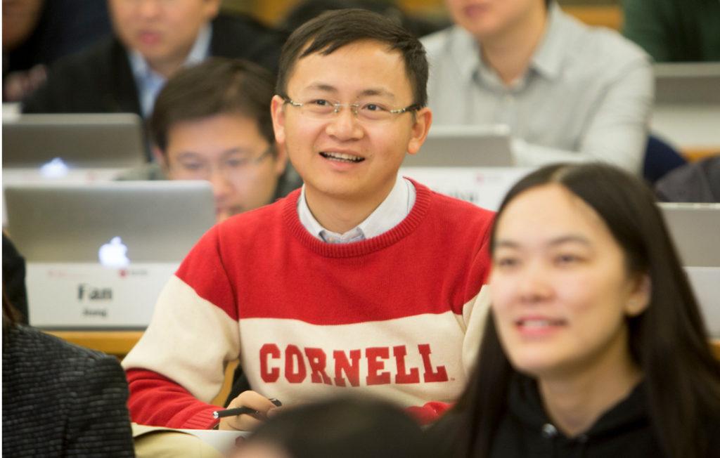 Tsinghua student wearing a Cornell sweater