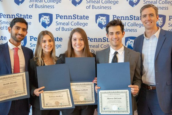 Allison Latham, Two-Year MBA '20, with her team celebrating a second-place finish at the 2018 MBA Sustainability Case Competition at Penn State Smeal College of Business