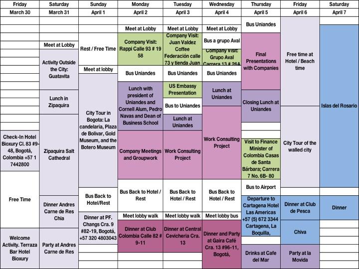 Colombia Trek Schedule