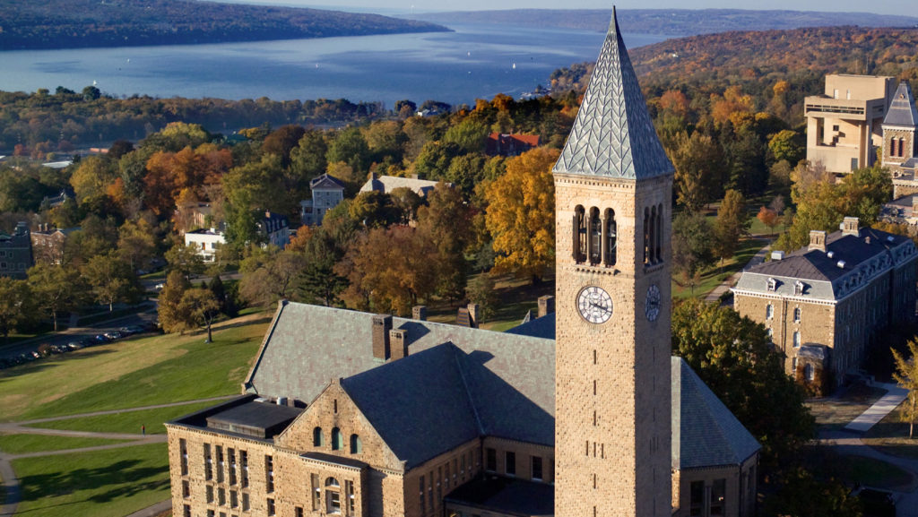 arial view of the Cornell Clocktower