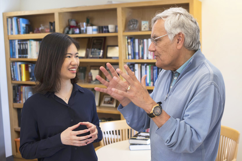 Professor having a discussion with a student