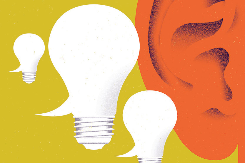 illustration of an ear listening to ideas as represented by lightbulbs