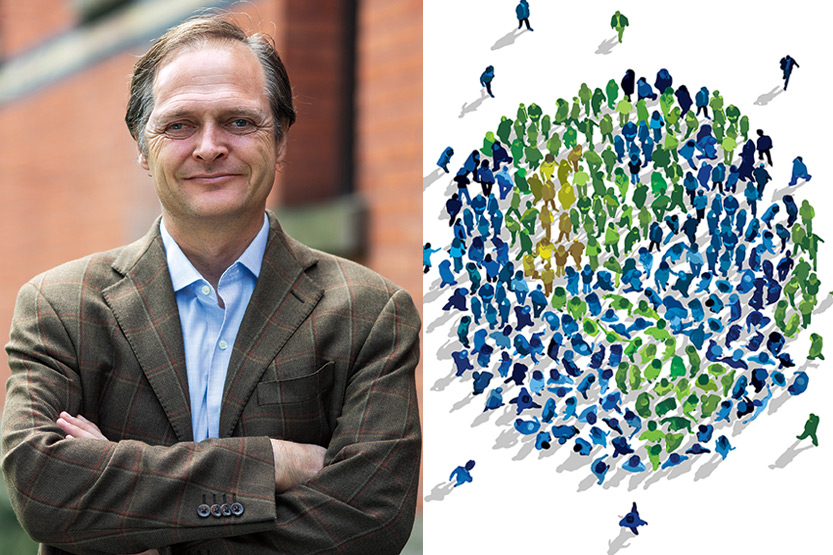 photo of Wes Sine next to an illustration depicting a multitude of human figures making up a world, some green, some yellow, some blue, forming the yin and yang symbol