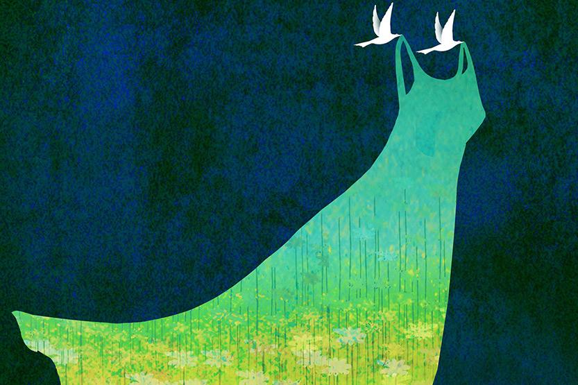 illustration of doves holding up a dress
