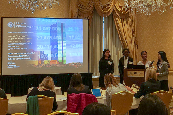 Students present at the Women in Investing Conference in Boston