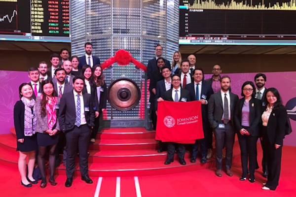 Johnson students at the Shanghai stock exchange