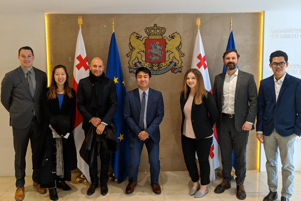 The Sustainable Global Enterprise student team meets then Prime Minister of Georgia, Mamuka Bakhtadze