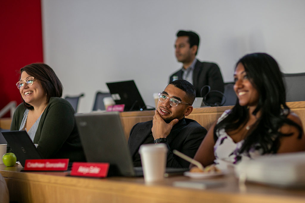 Students sitting in the EMBA/MS classroom