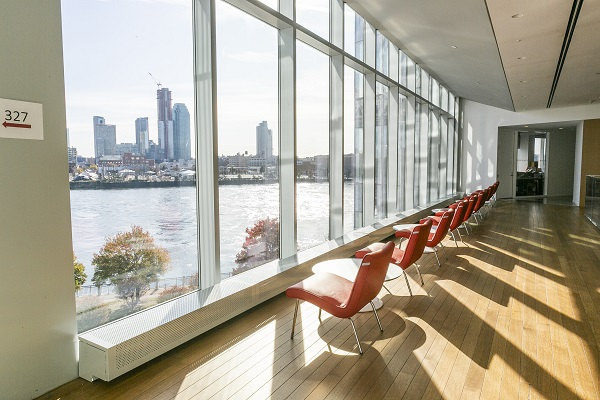 Empty chairs overlook the view from Tata Innovation Center at Cornell Tech.