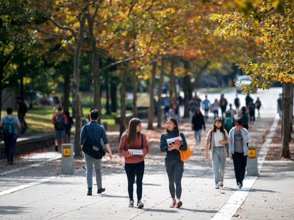 Students Walking in Ho Plaza.