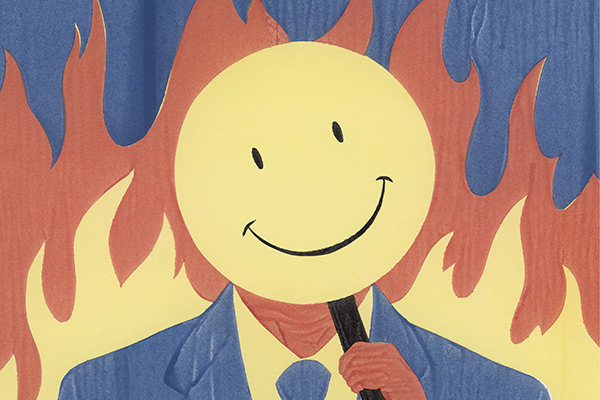 illustration of a man in a suit holding a smiley face in front of his face, with flames in the background