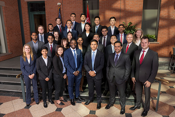 group photo of Cayuga Fund portfolio managers, Class of 2020, in forma business attire