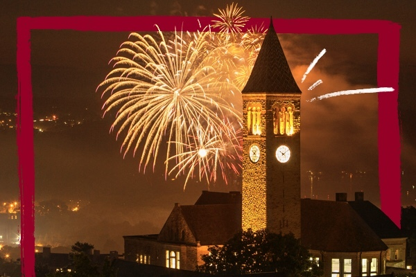Fireworks above the Cornell clock tower
