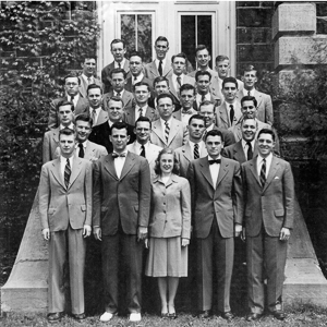 Black and white photo of the class of 1948
