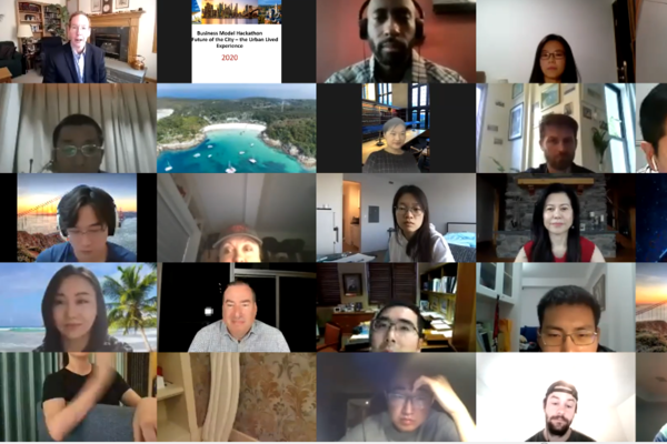 A collage of 20+ people on Zoom