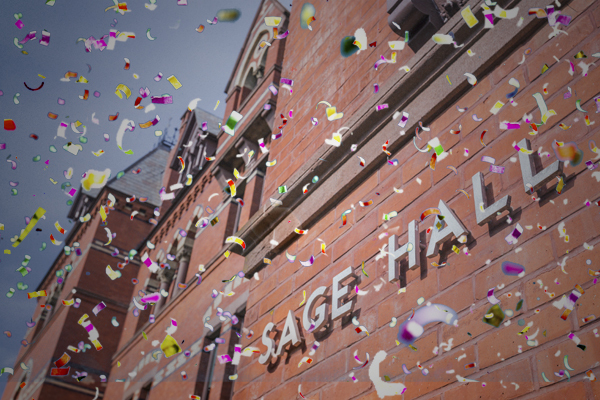 Sage Hall with confetti