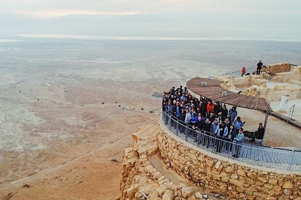 Students pictured overlooking the Dead Sea