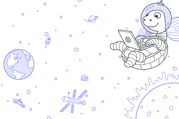 illustration showing Turtle's mascot, a turtle, wearing a space helmet and floating in the universe while typing on a laptop computer