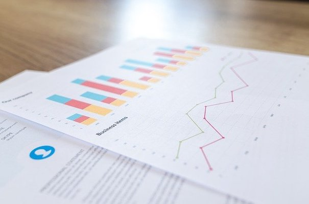 Stocks: Charts and graphs printed on a piece of paper