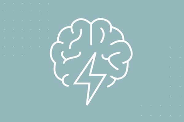 Illustration of a brain and lightning bolt