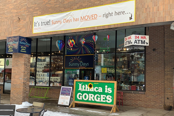 Photo of the entrance of a local business, Sunny Days of Ithaca, on the Commons
