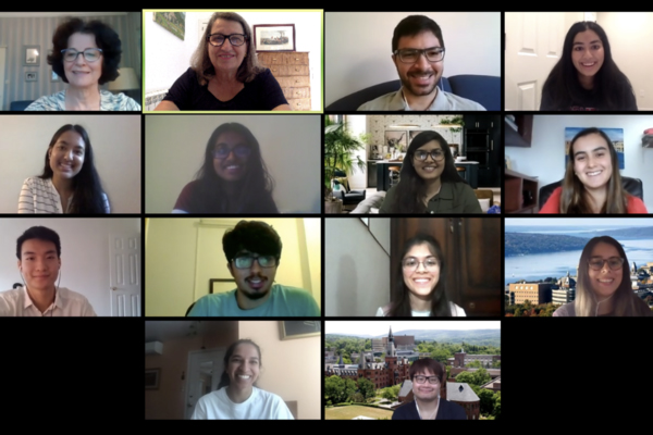 Screen shot of EMI staff and interns in a Zoom meeting