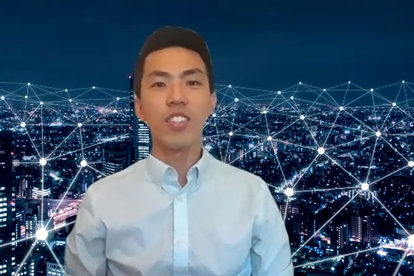 A picture of Trevor Sung in front of a virtual background giving a presentation.