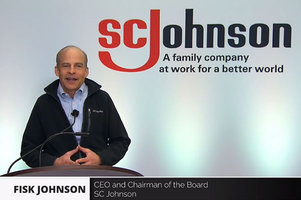 Zoom screen shot of Fisk Johnson speaking with the SC Johnson logo behind him