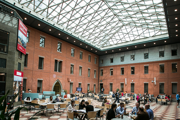 View of Sage Hall's glass ceiling from inside the atrium