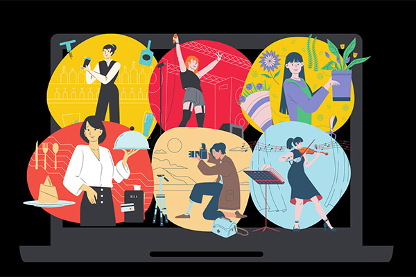 Computer screen with illustrations of individuals engaged in various activities, including cooking, taking photos, performing music, caring for plants, and learning about culinary arts and beverages.