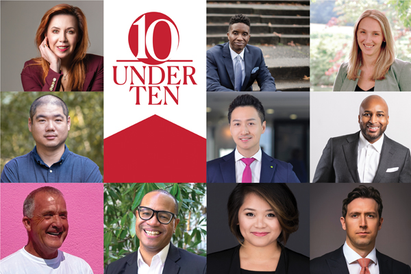 Headshots of all 10 Under 10 notable alumni with the 10 Under 10 graphic identifier