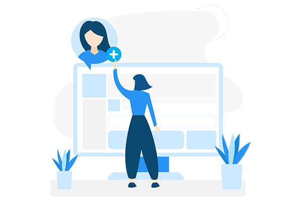 illustration of the back of a woman standing in front of a computer screen and pointing to a plus sign attached to an illustration of another woman's headshot (as if clicking on it to add it to a collection)